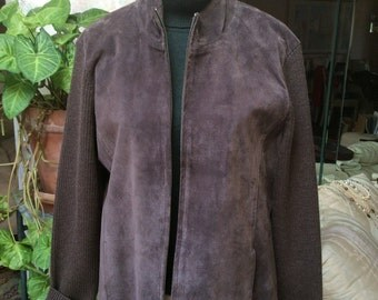 Vintage dark taupe suede sweater jacket, woman's Pendleton sz L mushroom color suede sweater jacket, heather taupe ribbed sweater suede top
