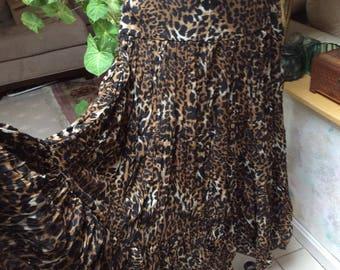 Vintage leopard print full swirl skirt, tie front tiered animal print skirt, boho exotic earthtones print maxi skirt, gypsy print skirt Sm