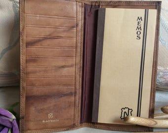 Vintage distressed light brown leather slim wallet, wallet/checkbook cover/card case, Blacksmith textured leather slim coat pocket wallet