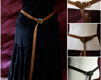"Long brown or black Leather Belt 80"", 72""or 60"" long, Medieval Garb, Ren faire, Pirate, SCA Garb, LARP costume belt silver, brass, Antique."