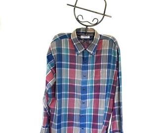 Sale 70s Mens Shirt Arrow SPORT Shirt Color Block Plaid Sz L to Sz XL Epsteam Vestiesteam