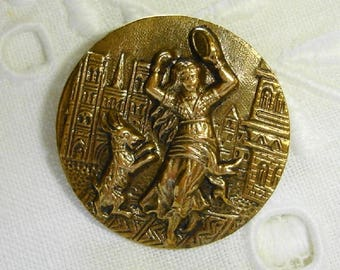 Old Scarce Brass Picture Button - Esmeralda with her dancing Goat