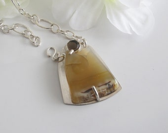 Golden Agate Necklace: with Quartz on Handcrafted Sterling Chain, Statement Jewelry by DixSterling