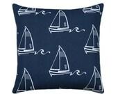 20% SALE Navy Sailboat Outdoor Pillow, Blue Nautical STUFFED Pillow, Navy Outdoor Pillow, Beach Pillows, Ocean Theme, Navy Nautical Pillows