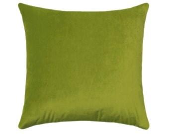 Chartreuse Velvet STUFFED Pillow, Lime Toss Pillow, Solid Chartreuse Accent Pillow, Green Throw Pillow, Chartreuse Velvet Cushion Free Ship