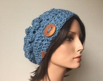 Hat in Hemp Wool Button Tab Slouchy handmade winter fashion Venetian Glass Blue Ready to Ship