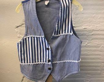 Jean Denim vest Vintage 1990s Cotton Blue Striped Women's size Small