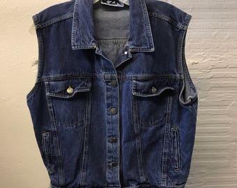 Jean vest Vintage 1990s Blue Denim KZK  Women's size M