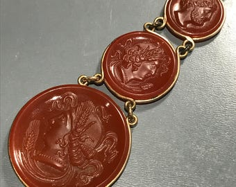 Fob Charm Pendant . Necklace . Carnelian Cameo Charm . Victorian Gold filled Jewelry