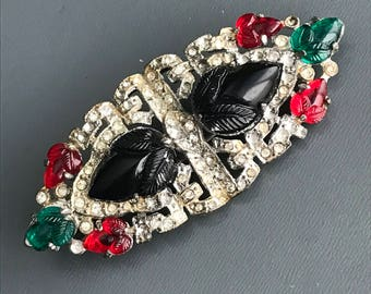 Vintage Art Deco  Pin . Brooch . Brooches . Fruit Salads Glass . paste Stone  jewelry
