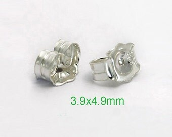 Sterling Silver Earring Back  3.9x4.9mm /10~50 prs 925 silver ear Nuts - USA made wholesale Jewelry Supply(3839A)