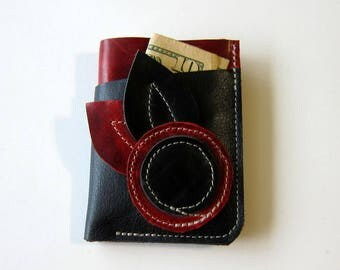 Leather Wallet 3 Triple Pocket - Larger Size - Flower with Double Leaves - Two Color Leather