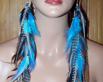 Real Feather Earring, Black and White Feather Earrings, Turquoise Feather Earrings, Blue Hair Extension, Blue Feather Long Earrings