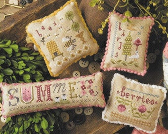 Lizzie Kate Summer Smalls #182 Counted Cross Stitch Pattern with Embellishments