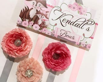 HAIR BOW Holder - Personalized Girls Foxy Flowers Fox HairBow Holder - Bows Clippies Organizer HB0182