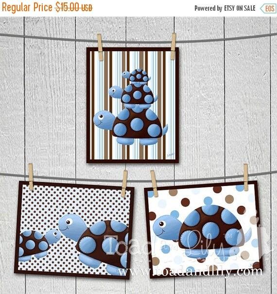 Springtime Sale Set of 3 Mod Turtle Children's ART PRINTS Room Decor