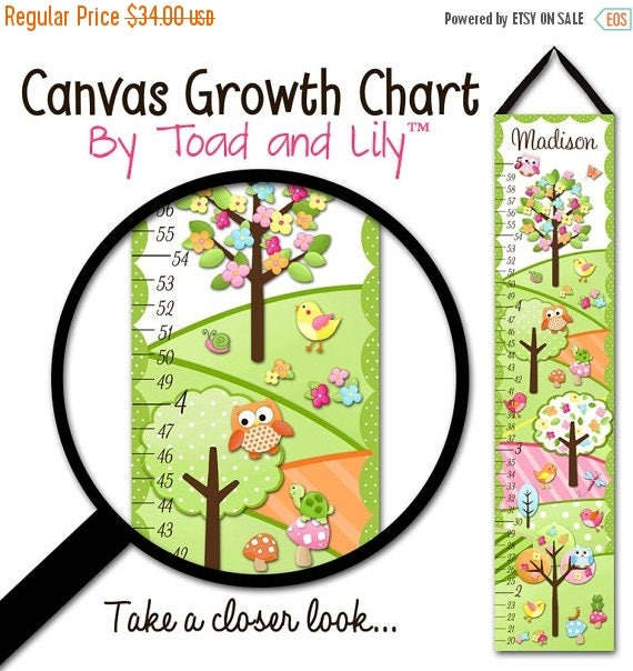 Spring SALE Canvas GROWTH CHART Owls Love Birdies Girls Nature Flowers Kids Bedroom Baby Nursery Wall Art Gc0144