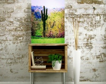 "Saguaro Cactus Art - Canvas Wall Art - Arizona Desert Art - Southwestern Decor - Southwest Art - Desert Cactus - Canvas Art Print - 16""x20"""