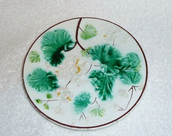Antique Majolica Plate Vintage White Green Leaves Flowers Sarreguemines French Feance