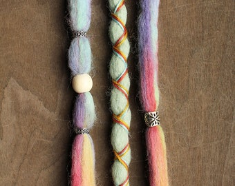 3 Tie-Dye (READY to SHIP) Clip-In Wool Dreads Wrapped & Beaded Bohemian Hippie Dreadlocks