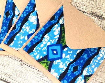 5 African cards READY TO SHIP African cards greeting. African wax print card set with envelopes, Bright