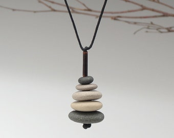Beach Stone Necklace,Nature Necklace of 5 beach stones , cairn of beach stones,neutrals, meditative, zen, adjustable cord