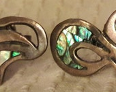 Sterling Silver Abalone Screw Back Earrings Mexican Taxco