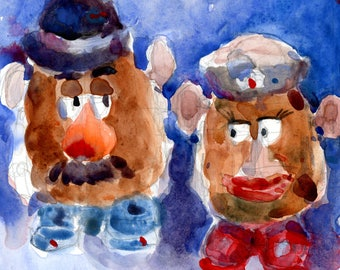 Mr and Mrs Potatoe Head  OriginalArt  Pototoe  Children's Room Fun