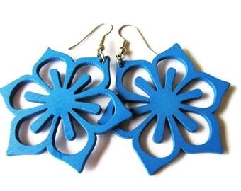 Blue Flower Wooden Earrings