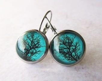 Green Tree Silhouette Glass Dome Earrings