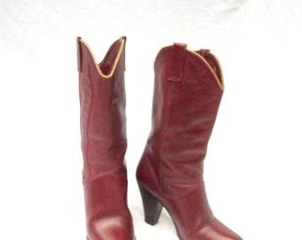 SALE 70s Aigner Cowboy Boots size 7 Oxblood Boho Boots
