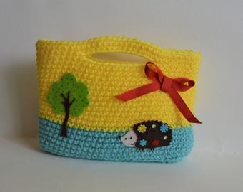 Happy Hedgehog Purse in Turquoise and Yellow