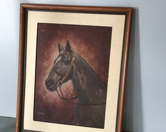Vintage equestrian horse painting