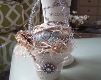 Mini Easter Basket - Altered Peat Pot - Victorian Easter Decor
