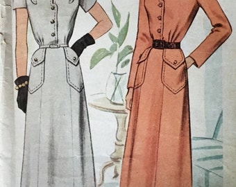 Sewing Vintage 1940s  Classic Shirtwaist Dress Pattern McCall 7354...SALE was 55.00