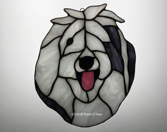 Old English Sheepdog Suncatcher in Stained Glass