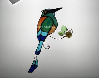 Turquoise Browed Motmot Suncatcher in Stained Glass