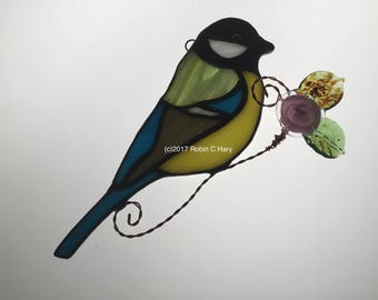 Great Tit Suncatcher in Stained Glass