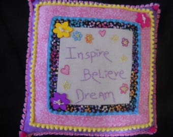 Embellished pillow,pink and purple pillow, possitive message