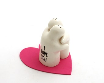 Salt and pepper shakers, valentines day gift , gifts under 15 , home and living , I love you more , ooak hugging figures
