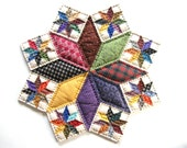 Miniature Quilt - Quilted Table Topper Quilted Candle Mat Table Quilts Farmhouse Decor Rustic Home Decor Primitive Country Home Decor