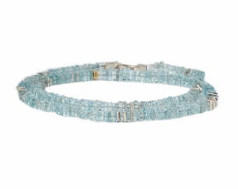 Necklace of square aquamarine slices with silver and gold