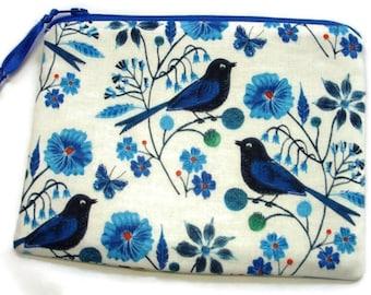 Padded Zipper Jewelry Pouch in 100% Organic Cotton Bluebird Fabric