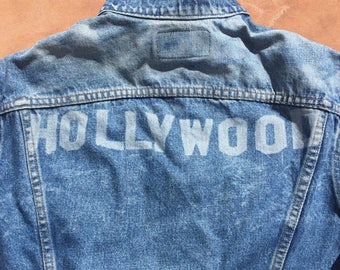The Vintage Indigo Blue Laser Printed Hollywood Customized Levi Strauss Denim Jacket