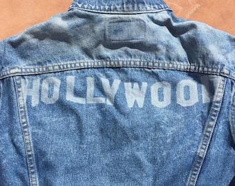 The Vintage Indigo Blue Laser Printed Hollywood Customized Levi Strauss Denim Jacket