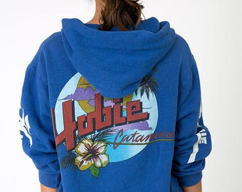 The Vintage USA Made Blue Hobie Catamaran Surfer Hoodie Sweatshirt