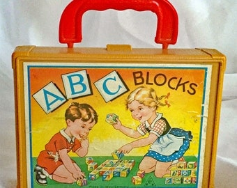 Vintage German Picture Blocks in Handled Carrying Case - Toy