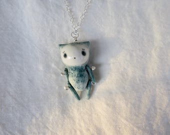 Cat Puppet Pendant 2 (with 925 sterling silver chain)