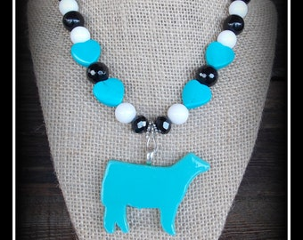 """Glass Show Steer/Heifer/Cattle Pendant With Gemstone Beaded Necklace Approx 18"""""""