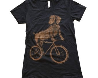 Dachshund on a Bike Womens Tee, Ladies Tee, Tri Blend Tee, Handmade graphic tee, sizes S-XXL